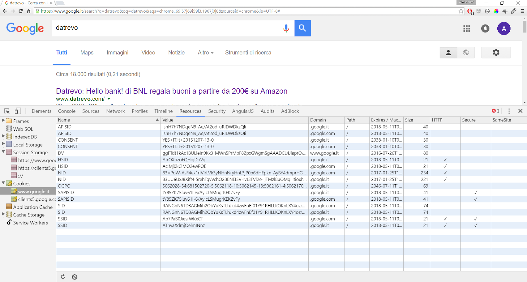 Google Developer Tools - Cookie