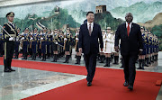 President Cyril Ramaphosa and Chinese President Xi Jinping review an honour guard during a welcome ceremony at the Great Hall of the People on September 2, 2018 in Beijing, China.