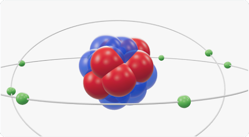 A purple and red 3D cluster of atoms sits in the middle of two grey rings with green spheres moving around them.