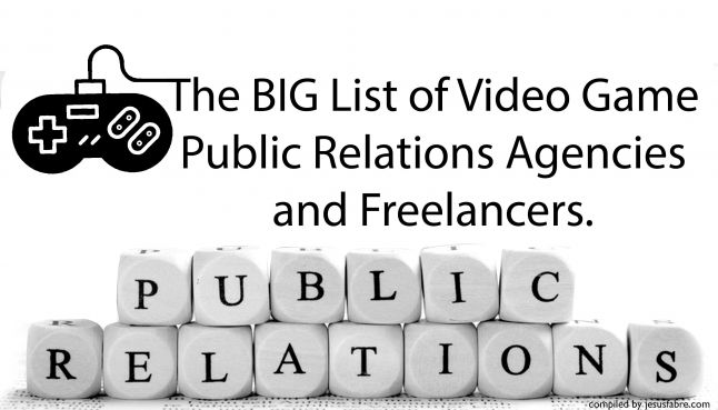 The BIG List of PR Agencies and Freelancers for Video Games