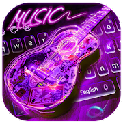 Neon Guitar Music Keyboard Theme