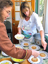 Photo: Mary and Melissa assembling the rice dish