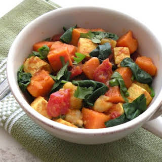 Easy Curried Sweet Potatoes and Tofu.