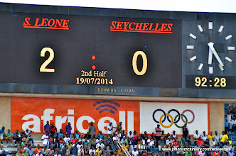 Photo: Final Score (after 3 minutes of added time) [Leone Stars v Seychelles, Freetown, 19 July 2014 (Pic: Darren McKinstry)]