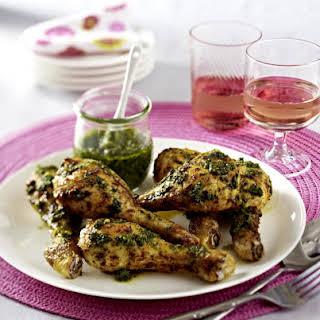 Pesto-Marinated Chicken Drumsticks.