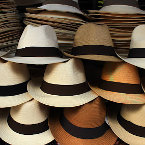 Hats at the Market by Robert Hamm - Artistic Objects Clothing & Accessories ( abstract, panama hat, otavalo, craft, market, ecuador, color, texture, outdoor, shape, material, straw hat, hat )