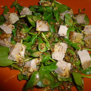 Simple Left Over Roast Beef, Lentil and Watercress Salad with a Mustard and Thyme Dressing.
