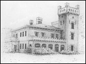 Photo: Rysunkowa rekonstrukcja pałacu barona Wilhelma Hompescha autorstwa Pana Janusza Chmiela. (Skan rysunku udostępnionego przez Panią Zofię Chmiel)