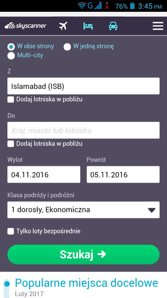 Скриншот Tanie Loty Polska