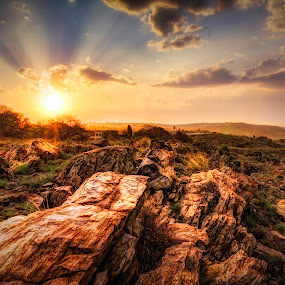 Rocky Mountain by Hilton Viney - Landscapes Sunsets & Sunrises ( clouds, mountain, hdr, grass, beautiful, plants, yellow, sky, nature, orb, sunset, view, rocks, stunning, golden hour )