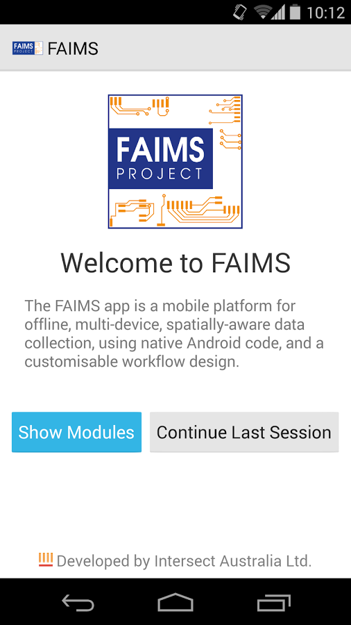 FAIMS Mobile- screenshot