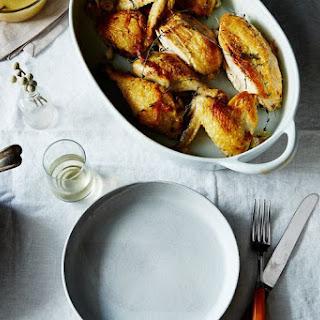 Super-Quick Roast Chicken with Garlic and White Wine Gravy.
