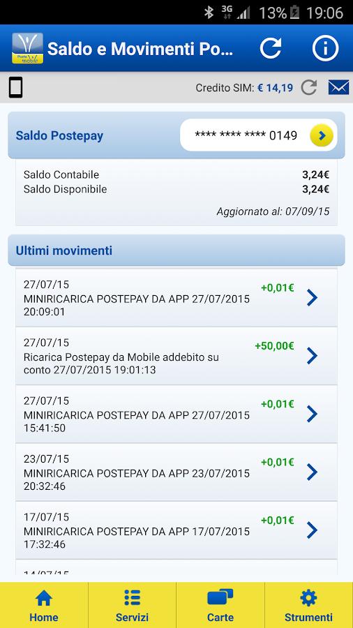 PosteMobile- screenshot