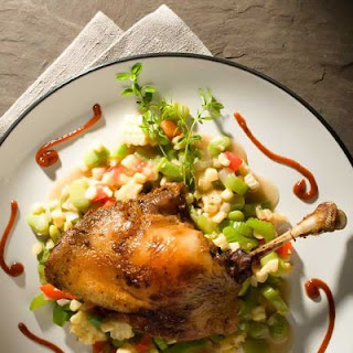 Duck Confit with Summer Succotash.