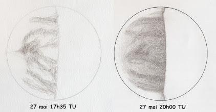 Photo: Comparatif entre deux dessins pris à 2h30 d'intervalle. A gauche, croquis pris en fin d'après-midi.  T406 à 350X en bino et filtre W47.