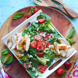 Chicken Salad with Strawberries and Honey-Lemon Mint Dressing.