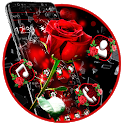 Broken Glass Beautiful Red Rose Theme icon