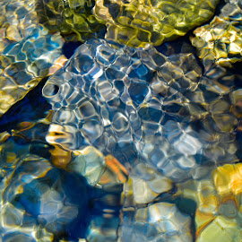 Abstract Reflections  by Garry Dosa - Abstract Patterns ( abstract, water, nature, outdoors, reflections, stones, colours )