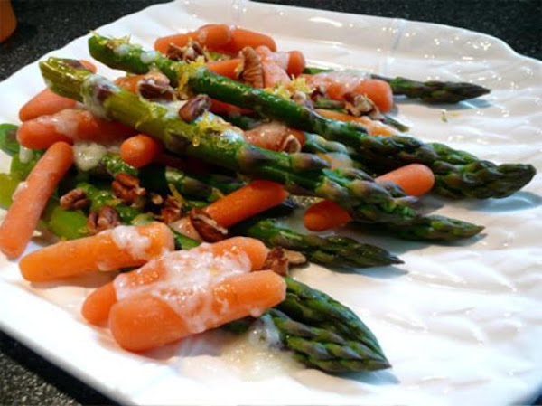 Glazed Asparagus & Carrots With Pecans Recipe