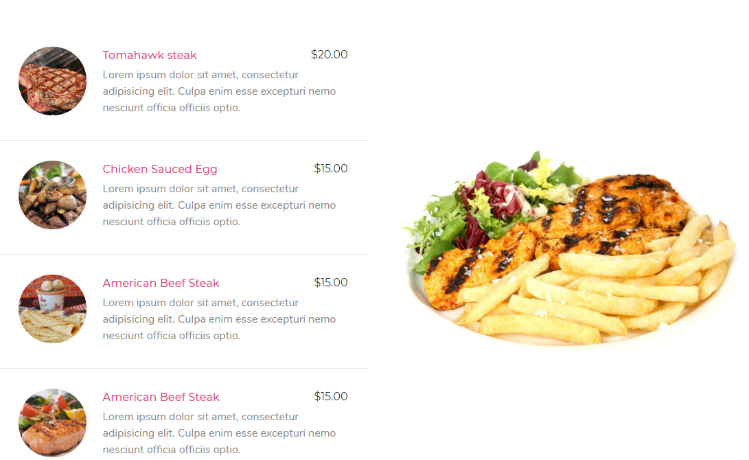 Price menu widget of happy addons