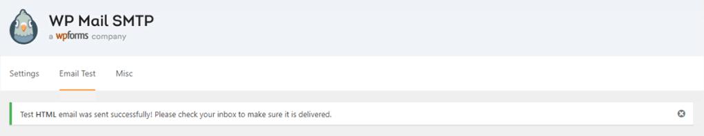 mensagem confirmando que o teste do wp mail smtp foi bem sucedido