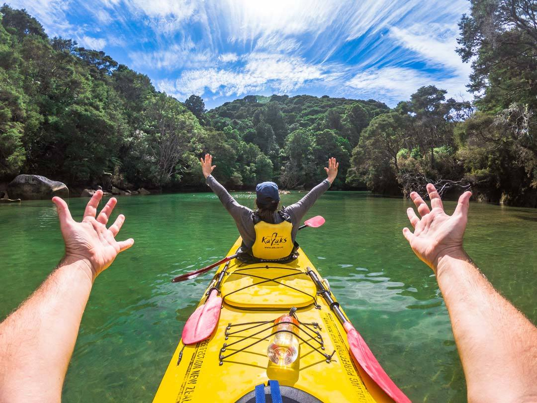 Paddle your kayak to a secluded island amid the South Island's Abel Tasman