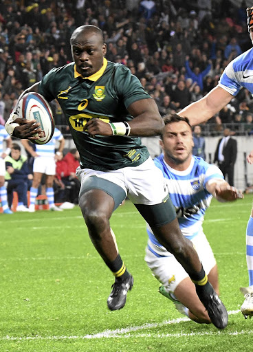 Charging to the line: Raymond Rhule outpaces the Puma defence in August… the Bok wing hopes to reproduce this form against the All Blacks. Picture: GALLO IMAGES