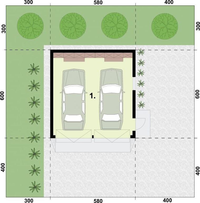 Projekt Garażu G325 Garaż Dwustanowiskowy Tit 137 2991m²