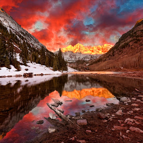 Pink Maroon Bells Sunrise by Jamie Link - Landscapes Mountains & Hills ( pink glow, jamie link photography, beautiful mountains, colorado wilderness, maroon bells sunrise, elk colorado mountains, rocky mountain sunset, chicago commercial photographers, beautiful landscapes, mountain sunset, route i70 colorado, aspen colorado, mountain landscape, commercial outdoor photographer )