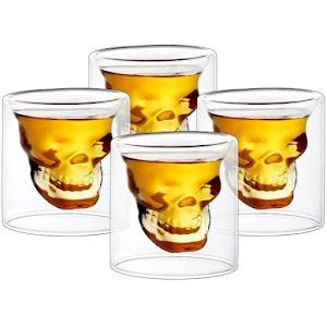 Set 4 pahare shot skull, 75 ml