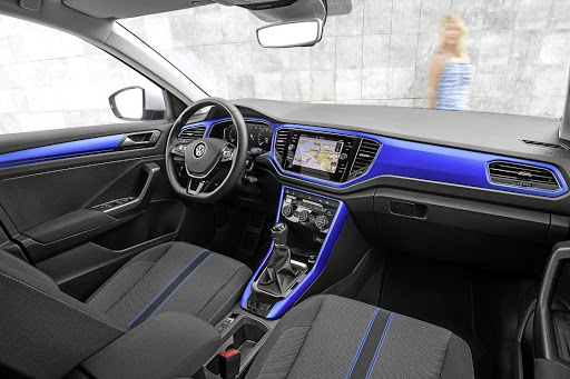 Like the 2018 Polo, the T-Roc is available with an interior featuring colour and tech. Picture: VOLKSWAGEN