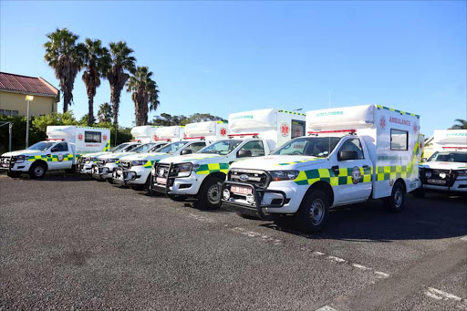 PURCHASE: Part of the new fleet of ambulances the department of health now has available. They have 141 new vehicles Picture: SIBONGILE NGALWA