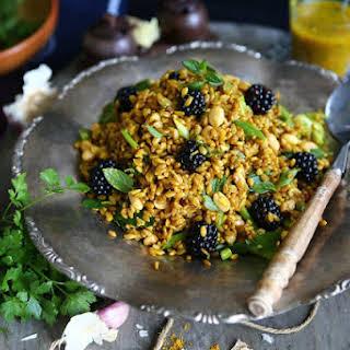 Einkorn Blackberry Salad with Garam Masala Vinaigrette.