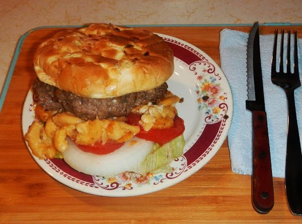 Put all together, just like you would with regular hamburger Gently with the mac %...