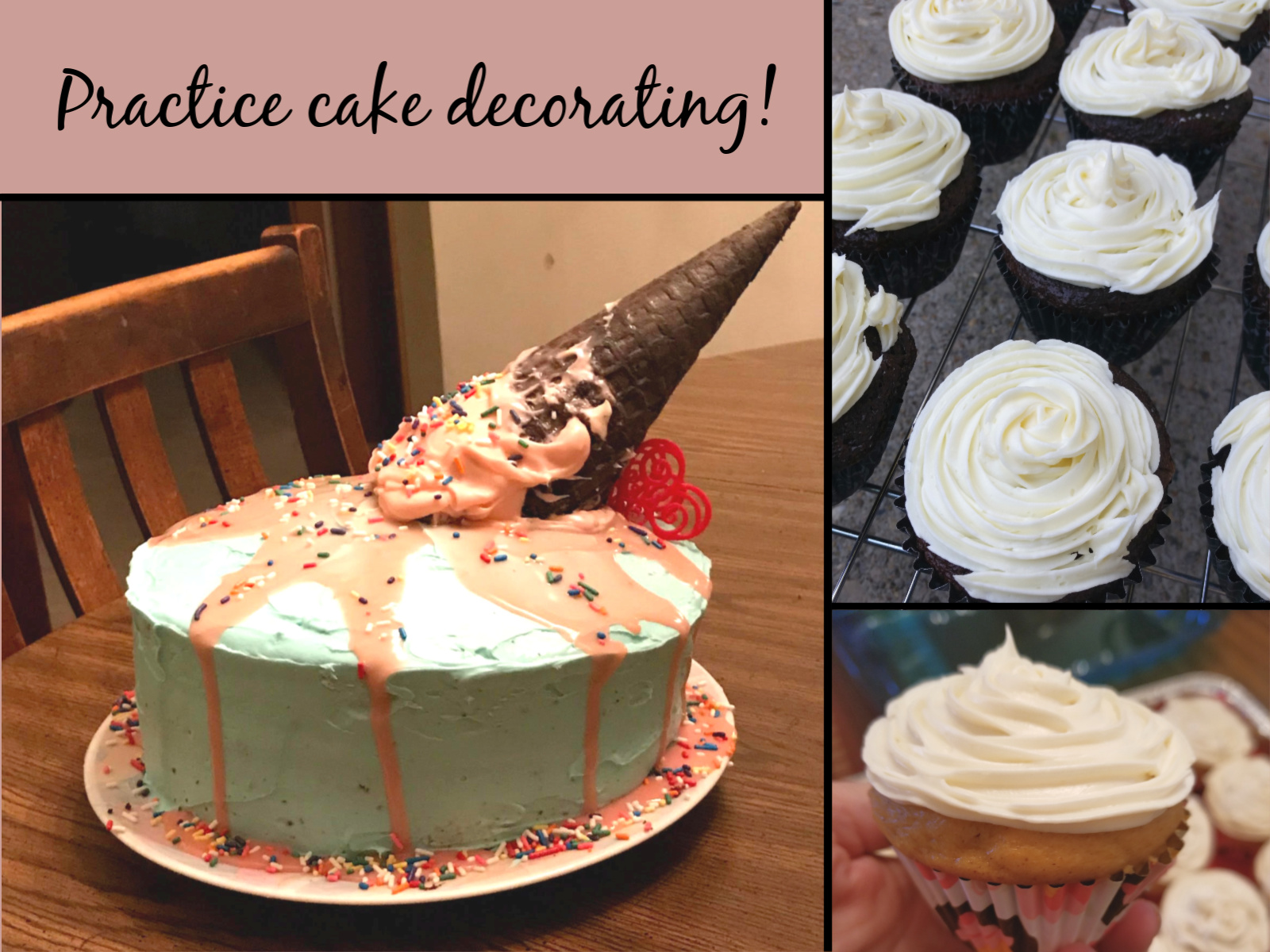 Images of cakes and cupcakes decorated at home