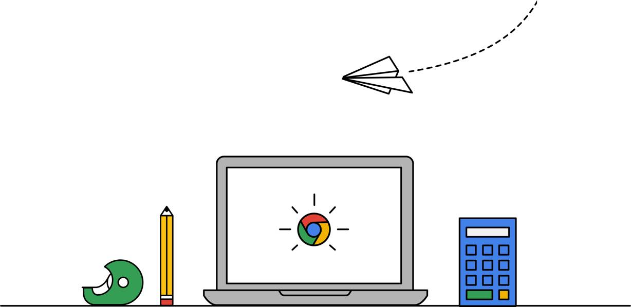 Illustration of a Chromebook with the Chrome logo.