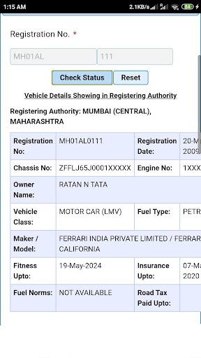 Vehicle Registration Details Apl Di Google Play