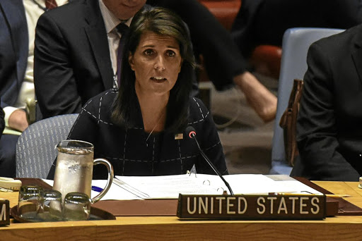 Bans for bombs: US ambassador to the UN Nikki Haley delivers remarks during a UN Security Council meeting in New York on Monday. Picture: REUTERS