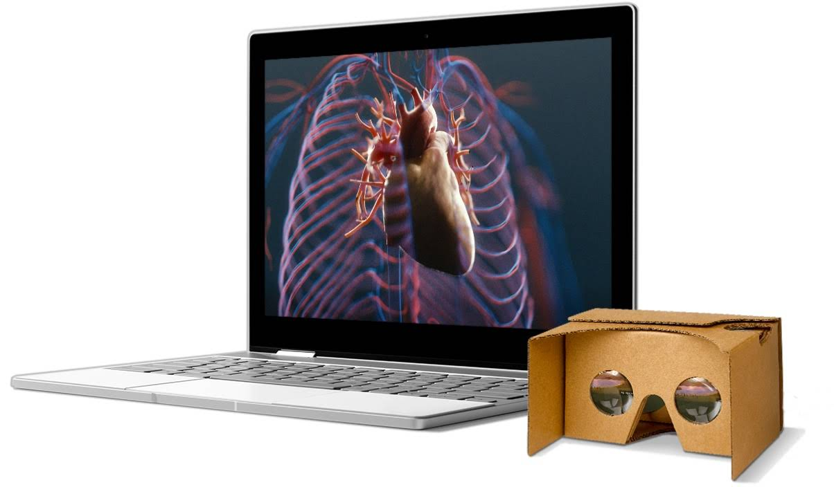 Expedities-app in de virtual reality-modus op een Chromebook naast een Cardboard VR-viewer.