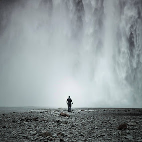 Skogafoss Scale by Inderjit Singh - Landscapes Waterscapes
