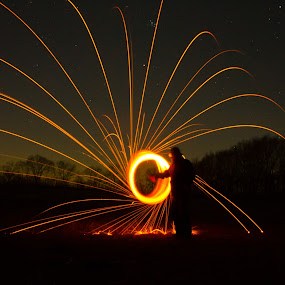 Slow Motion by Brian  Shoemaker  - Digital Art Abstract ( sparks, spark, night, dark, fire )