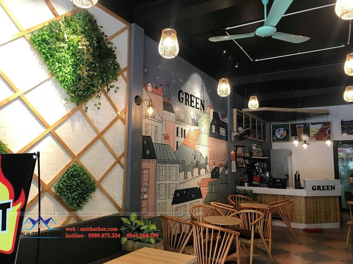 thiết kế quán trà sữa green 14