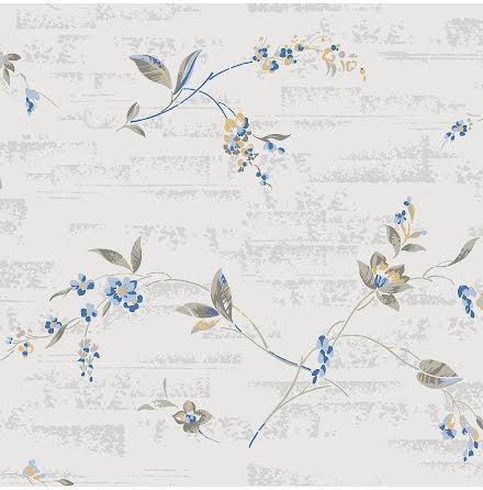 Gammelsvenska QuickUp Duro 1939 tapet med blommor 698-03 - Grå/blå