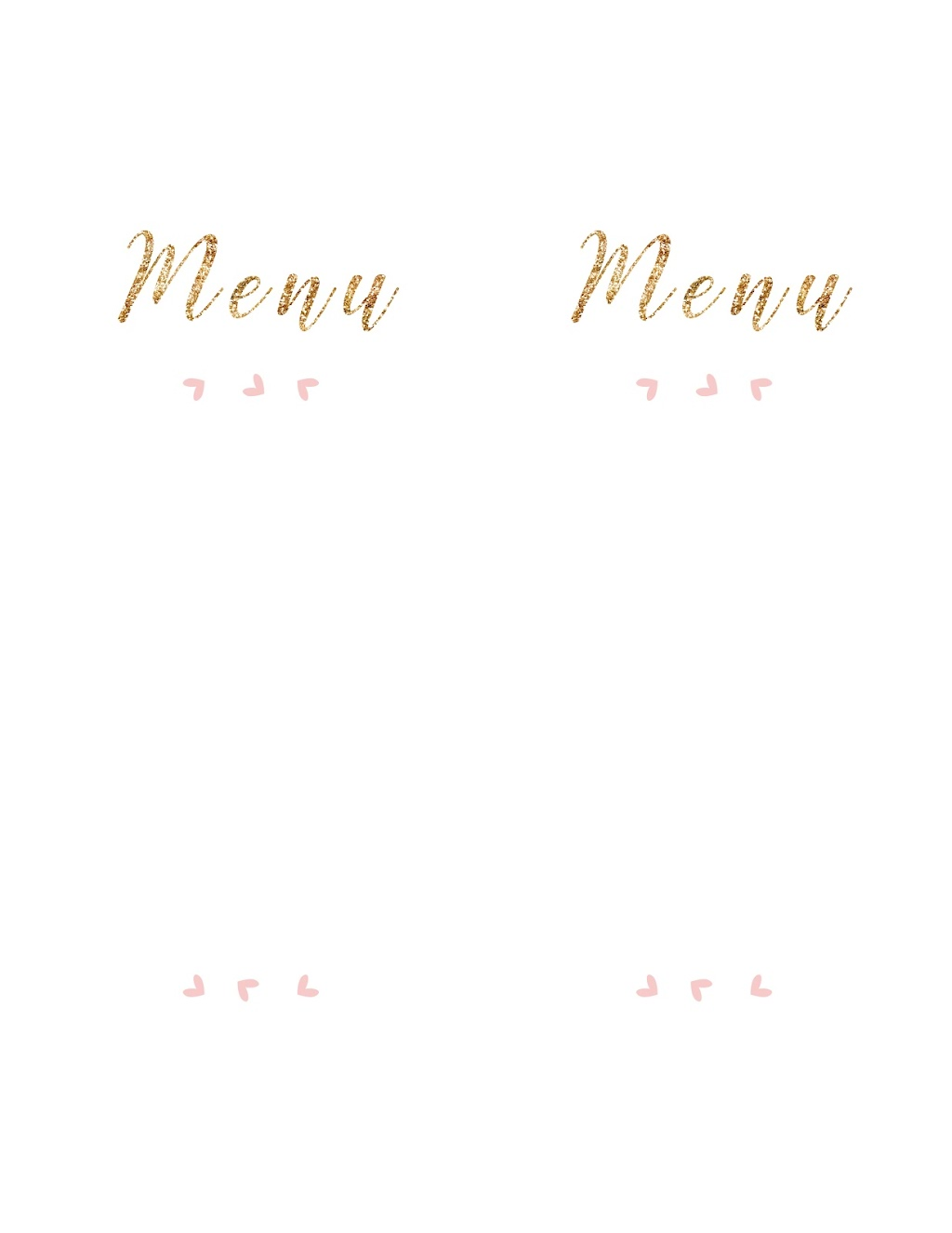 Free Printable Table Menu Cards