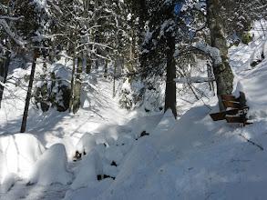 Photo: 23 Höllbachgspreng: Zu Eis erstarrtes Wasser - die Wegweiser verschwinden im Schnee. (6. Februar 2012)