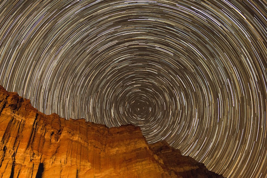 Space Time by Shanna Haid - Landscapes Starscapes ( canon, detail, california, beauty, astronomy, photography, time, mountains, sky, night photography, color, stars, parks, movement, lines, night, astrophotography, interesting, star trails, light, darkness,  )