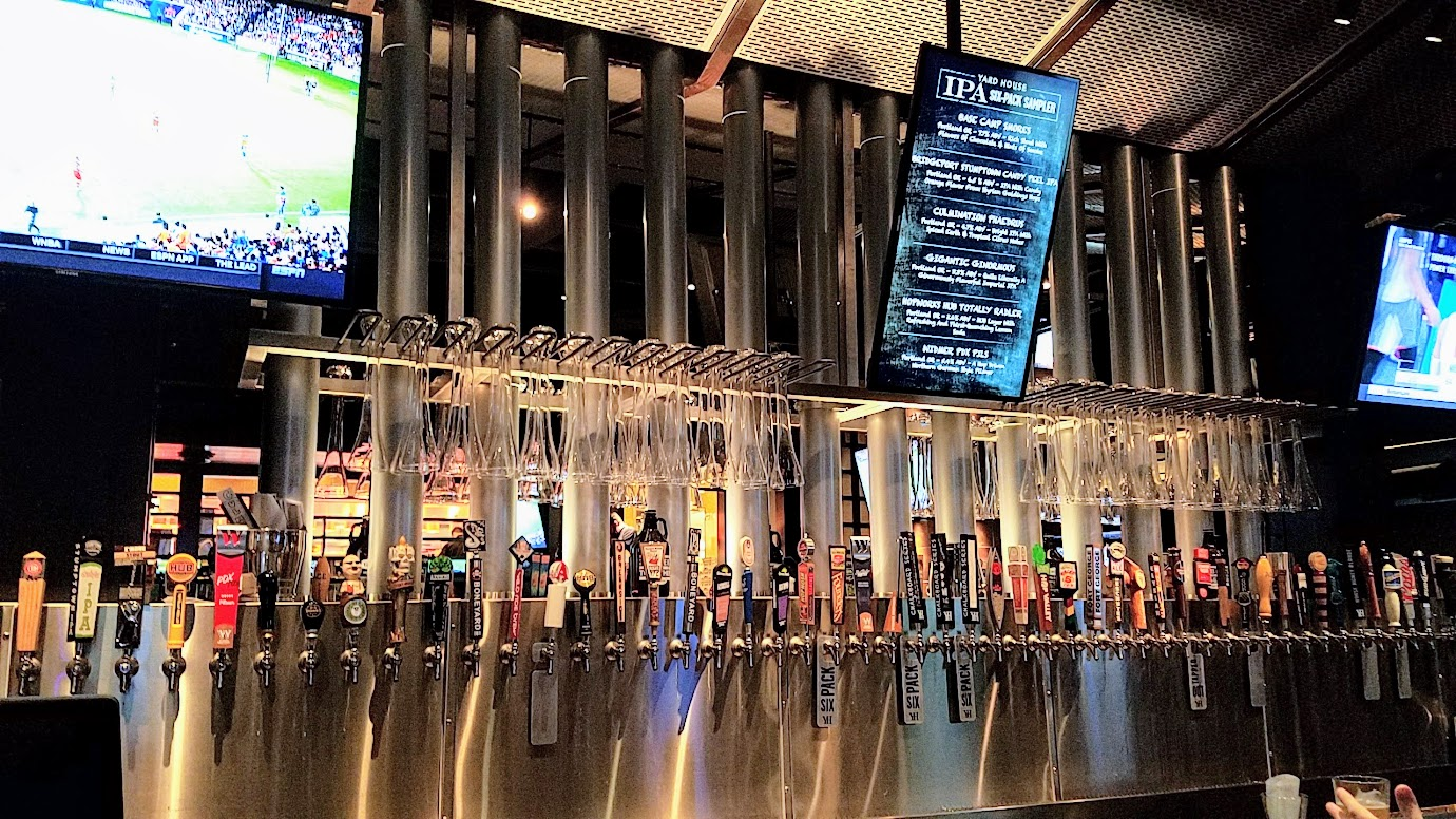 Some of the taps (but not all of them!) at Yard House. This is likely the most taps you will ever see in one place - an average of 130 at each location. Yard House Portland offers 130 taps with a keg room holding over 5000 gallons of beer