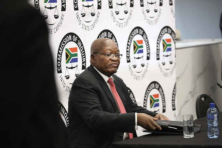 Former president Jacob Zuma appears before the state capture inquiry.