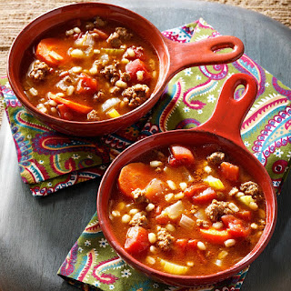 Ground Beef and Barley Soup.