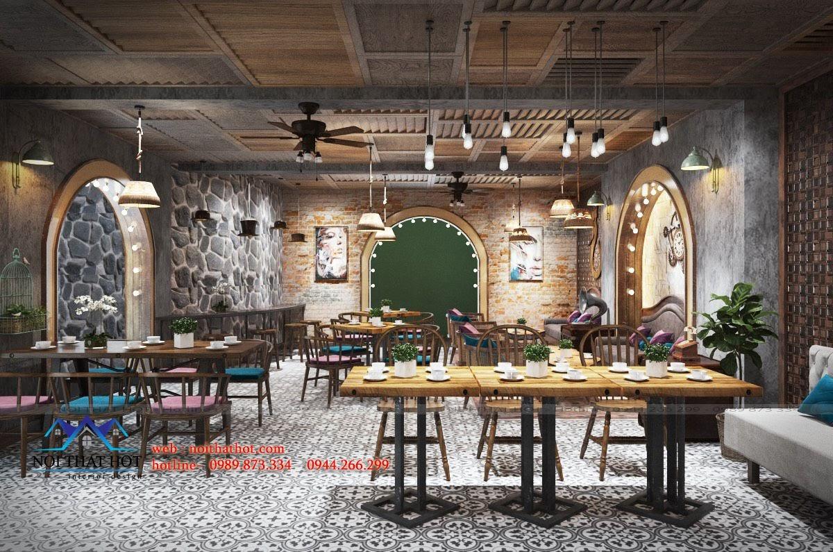 thiết kế cửa hàng cafe sang trọng 50m2